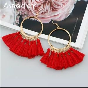 New Handmade Tassel Round Long Drop earrings